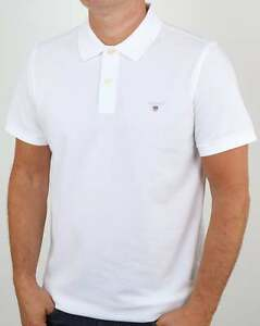 Details about Gant Rugger Pique Polo Shirt in White soft premium cotton, short sleeve