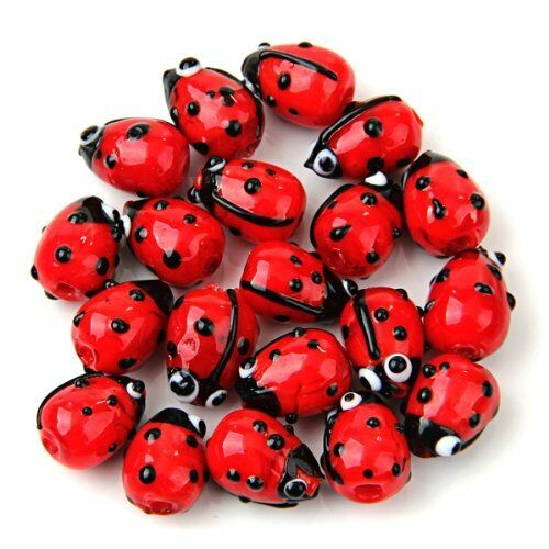 20 Red Lampwork Glass Ladybug Ladybird Loose Beads 12mm HOT SH
