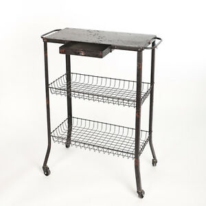 Küchenwagen 1920-1949, Art Déco Kompetent Tisch Küchenwagen Rollwagen Antik Industrial Regalkorb Rolltisch Metall Vintage üBereinstimmung In Farbe