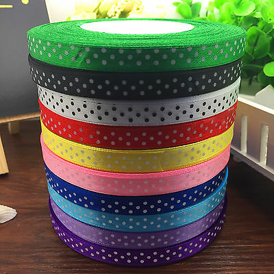New 100 Yards Charm 3/8 10mm Polka Dot Ribbon Satin Craft Supplies MixColor #9