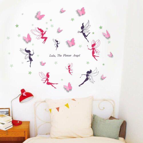Walplus Wall Sticker Decal Wall Art Fairies with 3D Butterflies Home Decorations