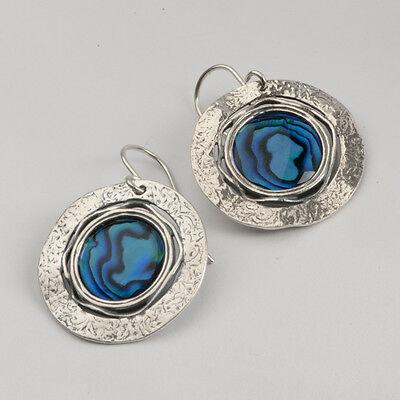 E01954BS SHABLOOL ISRAEL Didae Flower Blue Abalone Sterling Silver 925 Earrings