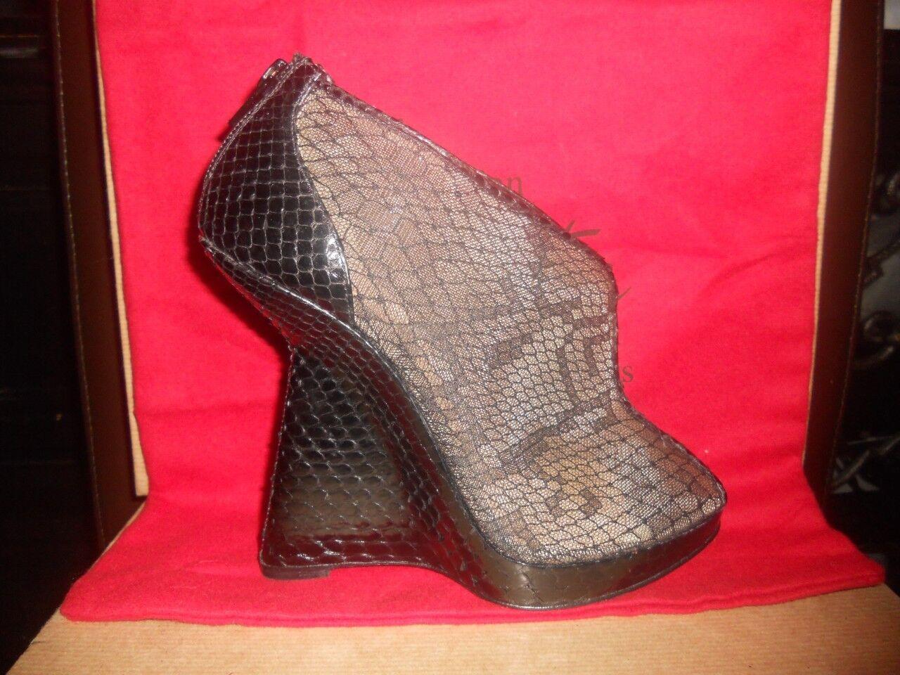 Christian Louboutin JANET Black Black Black Python + Lace Wedge Sandals shoes Booties  1,495 74c31e