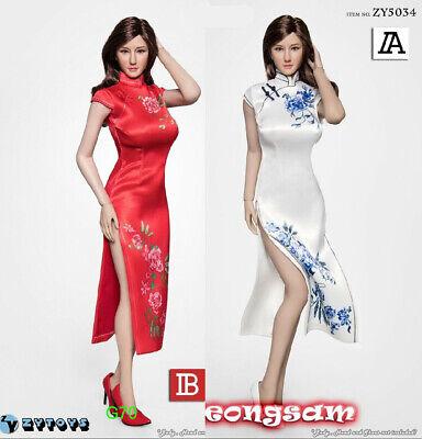 1//6 RED Cheongsam Dress w// high heeled shoes Set for 12/'/' female figure body