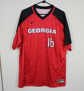 best website f29ab c89a7 Details about New Nike Mens Large Georgia Bulldogs Vapor Game Shirt  Baseball Jersey Red #16
