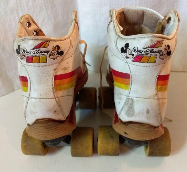 31b0b089178 Vtg Walt Disney Roller Skates 70s Rainbow Mickey Minnie Mouse Disco