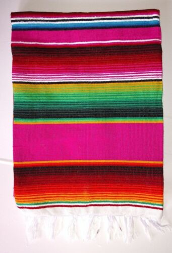 """Mexican Serape Blanket Pink,Fuchsia and Rainbow Striped EXTRA LARGE 84/"""" X 60/"""""""