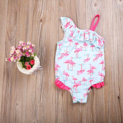 Kids Baby Girls Flamingo Bikini Bathing Suit Swimwear One Piece Swimsuit 2-7Y ch