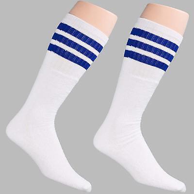 12 Pairs 1 Dozen Black Tube Socks with Strips Unisex Crew Retro Old School Style