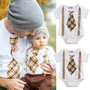 2c6782d86 US Toddler Baby Boy Clothes Tie Suspenders Bodysuit Romper Jumpsuit ...