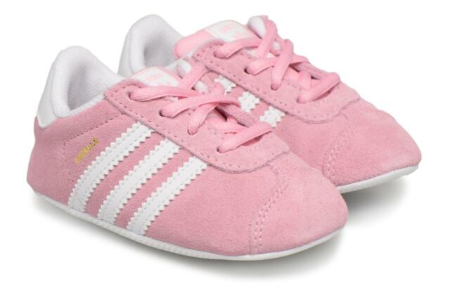 on sale 51731 1c568 Kids s Adidas Originals Gazelle Crib Lace-up Trainers in REAL Pink Suede  20% OFF