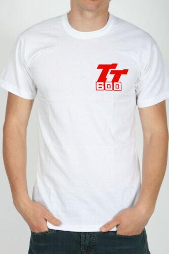 T-shirt Yamaha TT600 TT 600 59x logo cross enduro bike Maglia Cotone 100/% BIANCO