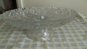 Depression-Glass-Footed-Pedestal-Comport-1930-039-s-Intricate-Glass-Etching-Design