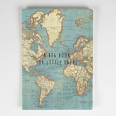 Big Book for Little Ideas Notebook / Notepad with Vintage Duck Egg Blue Map
