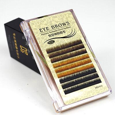 Individual Mix Color False Mink Eyebrow Extensions 0.10 mm J Curl Permanent Lash
