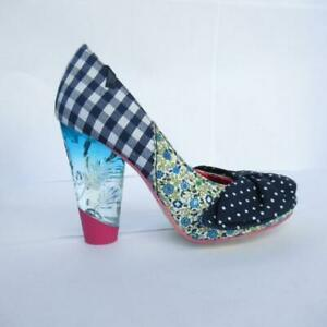 Irregular-choice-shoes-blue-gingham-checked-floral-polka-dot-bow-3-5-UK-36-EU