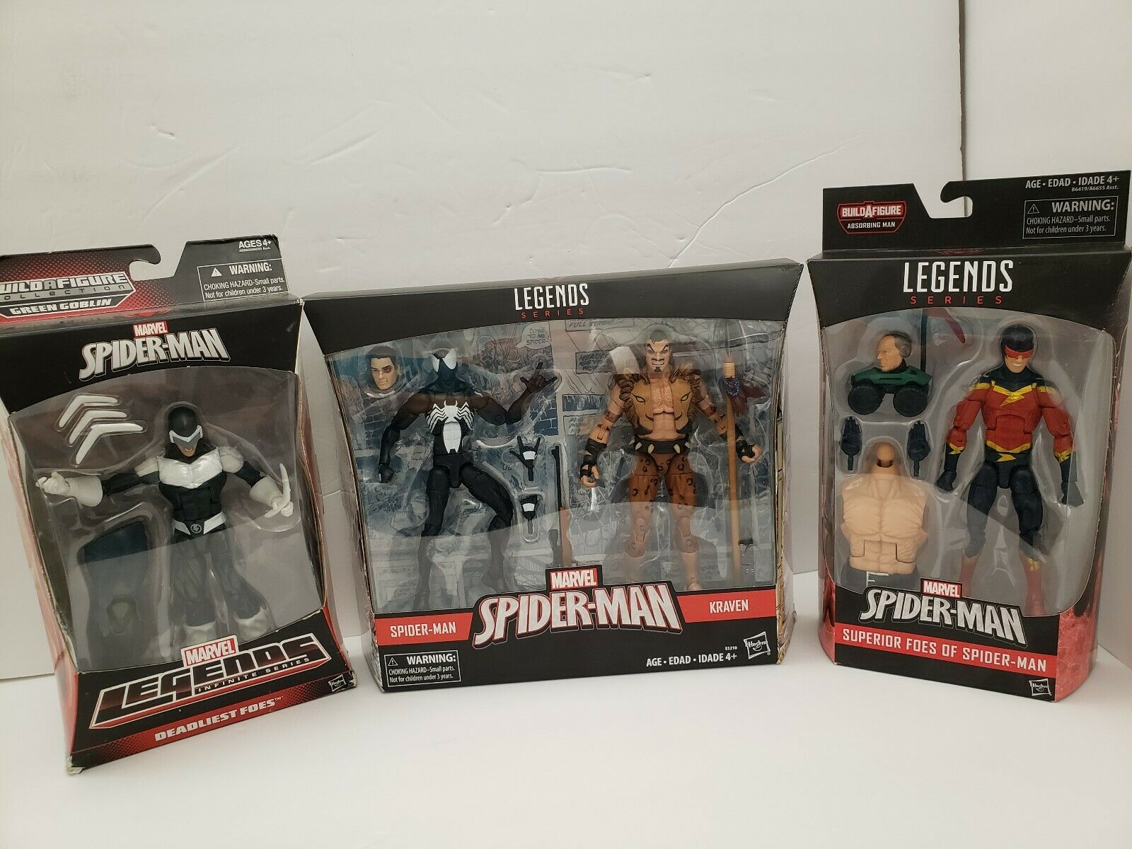 MARVEL LEGENDS SPIDER-MAN AND KRAVEN; BOOMERANG & SPEED DEMON LOT