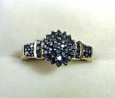 ORO 9 CARATI 0,50 ct BLACK DIAMOND CLUSTER Anello, Taglia P