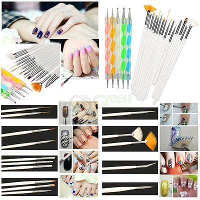 20pc Nail Art Design Painting Dotting Detailing Pen Brushe Manicure Tool Kit Set