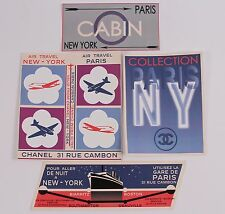 Chanel 2006 Paris-New York PNY-Fashion Show-Travel Art CC-Large Stickers-4pc Set