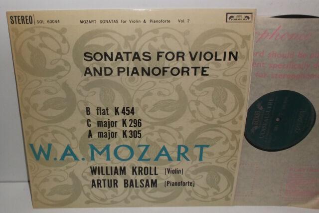 SOL 60044 Mozart Sonatas For Violin & Pianoforte William Kroll Artur Balsam Grvd
