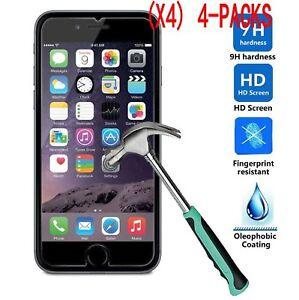 Lot-4-VITRE-VERRE-Trempe-Film-ecran-protection-iphone-X-8-7-6-6S-5S-5C-SE-4S