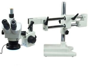 OMAX-5X-80X-Boom-Stand-Trinocular-Zoom-Stereo-Microscope-with-144-LED-Light