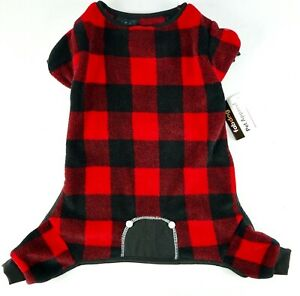 FabDog Red and Black Plaid Fleece Pajamas For Large Dog ...
