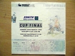 Tickets Stubs 1992 CUP FINAL 29th March 1992 - ilford, Essex, United Kingdom - Tickets Stubs 1992 CUP FINAL 29th March 1992 - ilford, Essex, United Kingdom