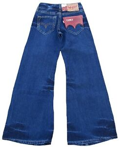 LEVI-039-S-TYPE1-929-Girls-Wide-Leg-Flare-Schlag-JEANS-27-34-W27-L34-Used-Blue-Hose