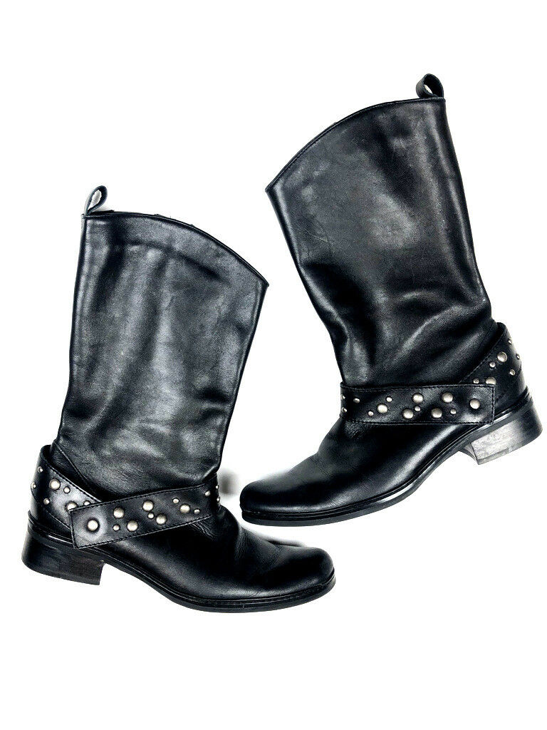 Matisse Women's 6 M Black Silver  Studded Leather Mid Calf Harness Moto Boots h0