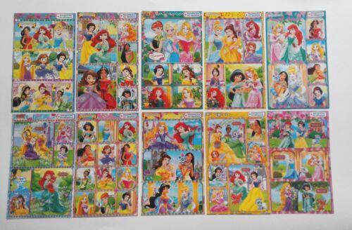 10x15cm Princesses Ariel Jasmine Cinderella Russian Glitter Sticker Sheet 4x6/'/'