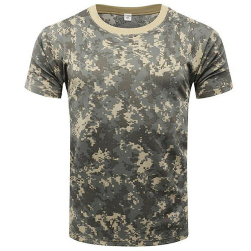 New Men Military Camouflage Camo T Shirt Army Combat Tee Summer Short Sleeve Top