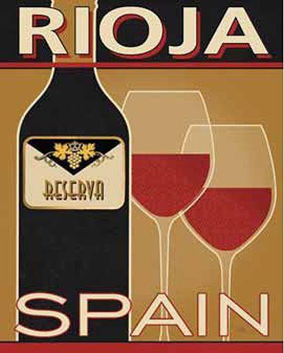 Pela Studio  Rioja Keilrahmen-Bild Leinwand Wein Küche Glas Flasche Deko