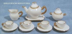 White-amp-Gold-Tea-Set-Dolls-House-Tableware-Dining-Sets-Miniature-1-12th