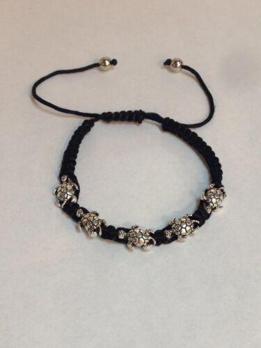 Lucky Bracelet Adjustable Black Cord With five Turtles Good luck bracelet