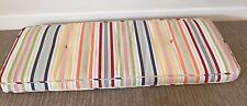 """Pottery Barn Bench Cushion Outdoor Indoor Striped White Yellow Red 45"""" X 17.5"""""""