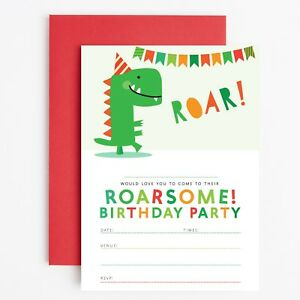 Image Is Loading DINOSAUR BIRTHDAY PARTY INVITATIONS INVITES CHILDRENS BOYS Dinosaur
