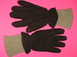 MEN-039-S-BROWN-LEATHER-SUEDE-WINTER-GLOVES-w-WOOL-LINING-SIZE-SMALL-VGC