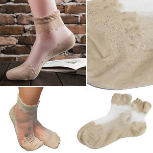 d42437c19c Details about 1-4Pair Beige Floral Lace Elastic Ruffle Top Ankle Socks  Ultra Thin Sheer Cotton