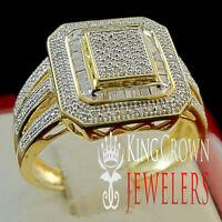 GENUINE DIAMOND WOMENS LADIES YELLOW GOLD FINISH ENGAGEMENT BRIDAL WEDDING RING
