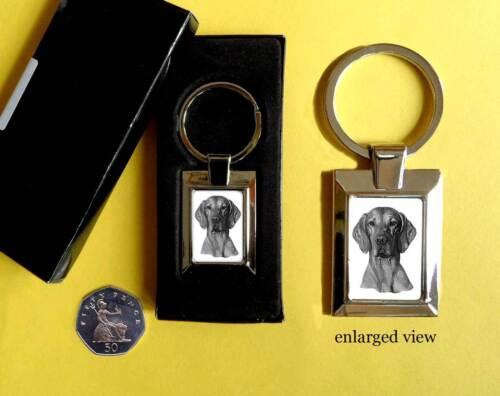 Hungarian Vizsla Smooth Dog Rectangular Chrome Plated Keyring Boxed Gift