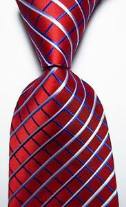 New-Classic-Checks-Red-Blue-White-JACQUARD-WOVEN-100-Silk-Men-039-s-Tie-Necktie