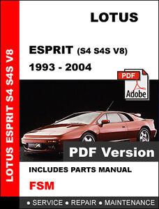 lotus esprit s4 v8 car parts manual repair manual service manual download
