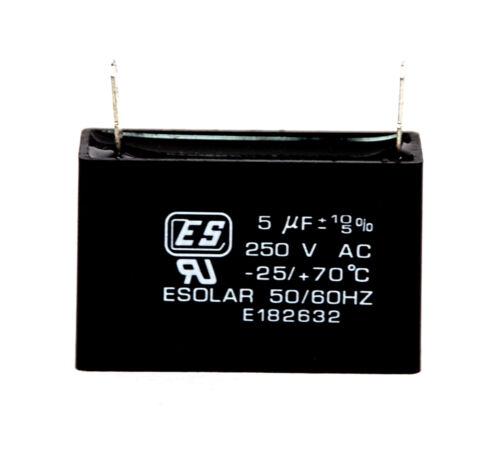 2pc AC Start Capacitor 5uF 250VAC 10//-5/% 25//+70℃ ES Esolar UL Taiwan