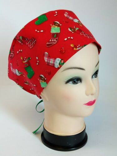 Details about  /Christmas Stockings on Red 100/% Cotton Tie Back Euro Style Scrub Hat//Cap NWOT