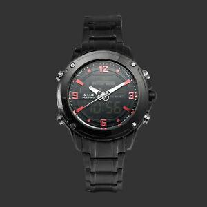 Mens-Watch-Quartz-Digital-Black-Stainless-Steel-Case-Round-Analog-Gentle-Luxury