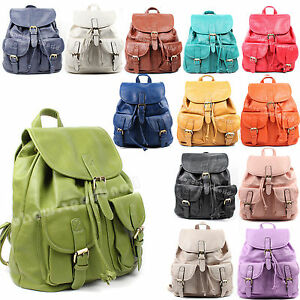 Ladies-New-Faux-Leather-Vintage-Rucksack-Backpack-College-School-Bag