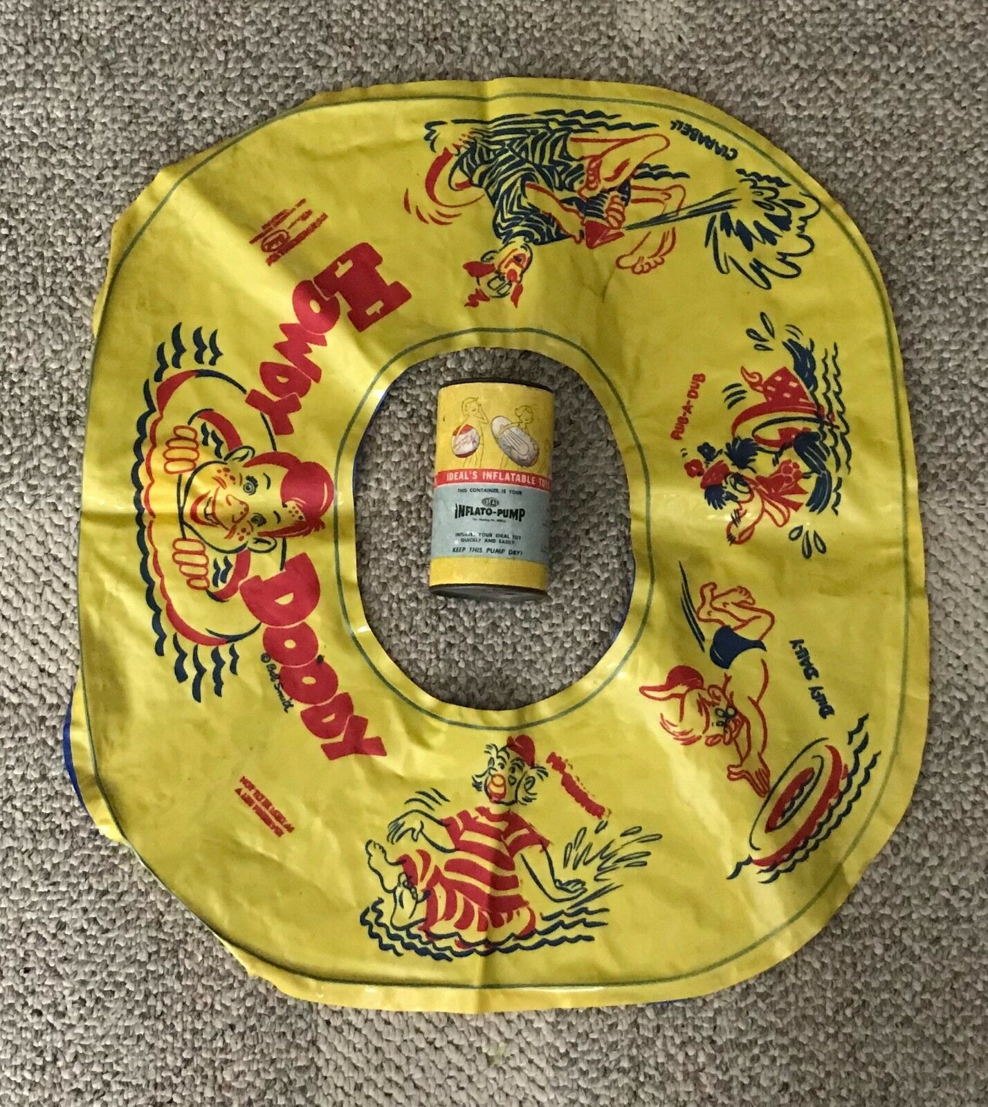 IDEAL  HOWDY DOODY  SWIM RING  FLOATY   C. 1950'S  WITH INFLATO-PUMP