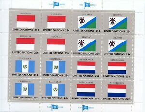 Radient Timbre Nations Unis New-york / Drapeaux Neuf Feuille N° 547/550 ** Cote ++ 30 € Par Processus Scientifique